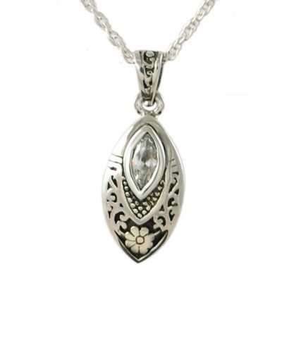 Cremation Tear drop with CZ stone Urn Pendant Necklace Jewelry new ss