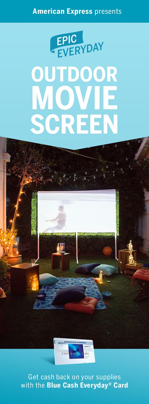 We partnered with Buzzfeed to help you build a DIY projector screen for more epic movie nights. Using inexpensive PVC pipes and sheets, turn the backyard into an outdoor theater. Try this fun idea at your next summer party. When you shop for materials, get cash back on purchases with the Blue Cash Everyday Card from American Express. Terms apply. Learn more at americanexpress.com/epiceveryday. Click the pin to watch how to make this DIY project.