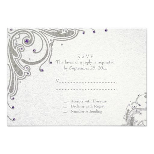 Silver glitter swirls   purple jewels wedding RSVP Custom Invite