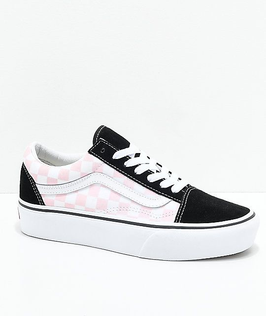 Vans Old Skool Black, Pink & White Checkered Platform Skate ...