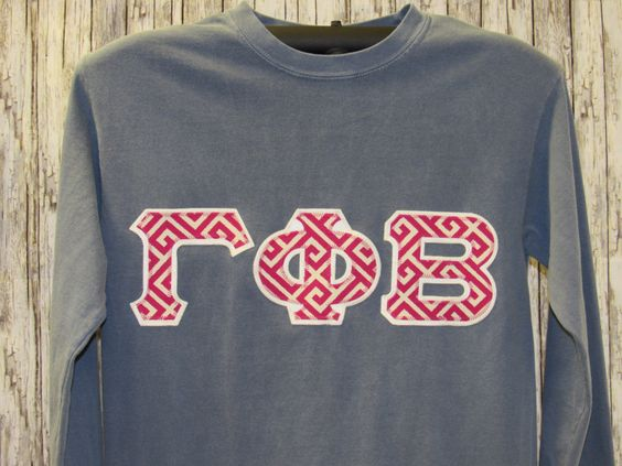 blue jean long sleeve shirt with geometric design sorority double stitched letters by mainstreetsorority on etsy