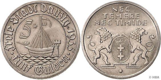 5 Gulden, Danziger Kogge, 1935 (A), vorzüglich-prägefrisch, neues Sachverständigengutachten Schobner beiliegend.  Dealer HBA  Auction Minimum Bid: 500.00EUR