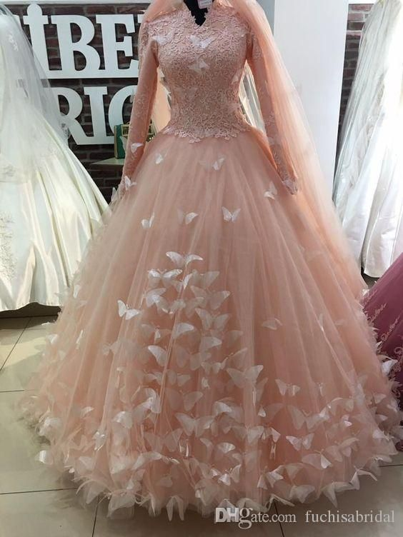 High Collar Muslim Wedding Dresses With Butterflies Long Sleeves Ball Gown Bridal Dresses With Ball Gown Wedding Dress Ball Gowns Wedding Indian Wedding Gowns