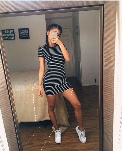 dress short bodycon stripes stripes black white grey shift mini t-shirt shirt dress