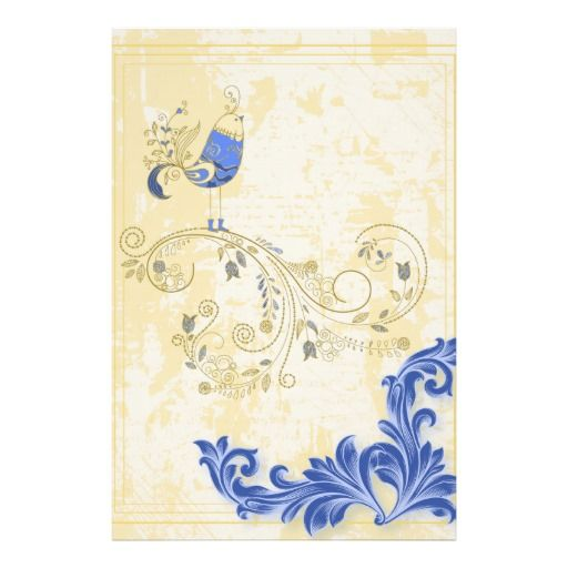 Pretty Little Blue Bird With Flowers Poster