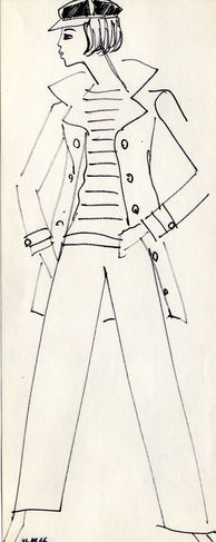 1962 - Yves Saint Laurent'caban' sketch: