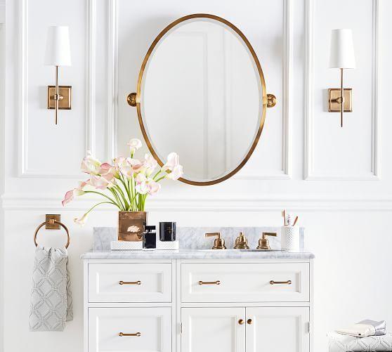 Kensington Pivot Oval Mirror Potterybarn Oval Mirror Bathroom Victorian Style Bathroom Bathroom Mirror