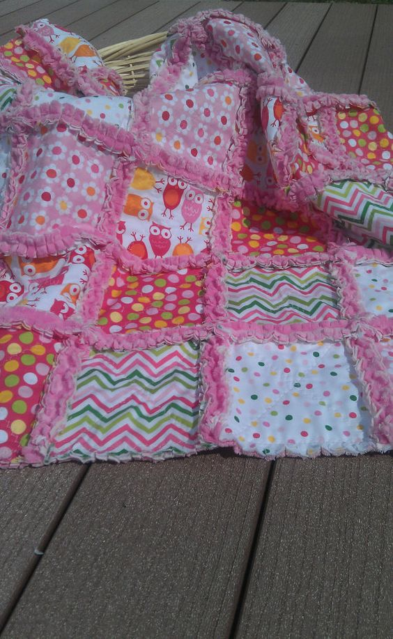 Baby Rag Quilt Girl Robert Kaufman Owls Urban Zoologie Remix Minky  Blanket.  Like the idea of using flannel as the middle layer