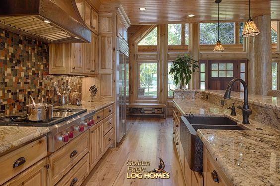 Log home by golden eagle log homes golden eagle log logs for Log cabin kitchens and baths