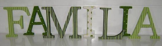 Familia Decorativa 15 cm cada letra com MDF 15 mm  Fazemos todos os nomes As cores ficam a seu gosto. R$ 120,00