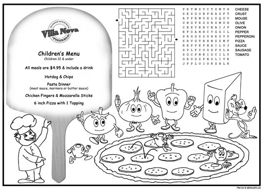 Placemats For Babies In Restaurants Kids Restaurant Activity Sheet