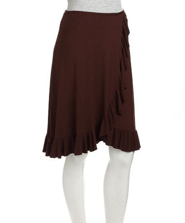 Take a look at this Brown Ruffle Wrap Skirt by Neesha on #zulily today!