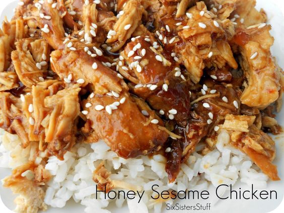 Slow Cooker Honey Sesame Chicken Recipe. Fast, easy and so delicious! Would be good with vegetables also.