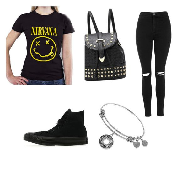 """""""Nirvana"""" by gervaise-kelly on Polyvore featuring Topshop and Converse"""
