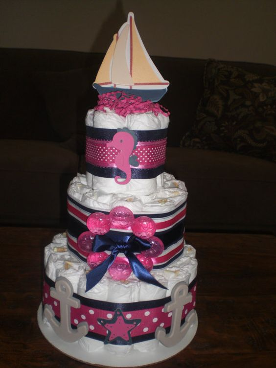 Girl Nautical Cake | Nautical Girl Whale Seahorse Diaper Cake Baby Shower  Centerpiece Other .