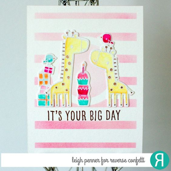 Card by Leigh Penner. Reverse Confetti stamp set and coordinating Confetti Cuts: Lift Me Up. Birthday card. Congratulations card.