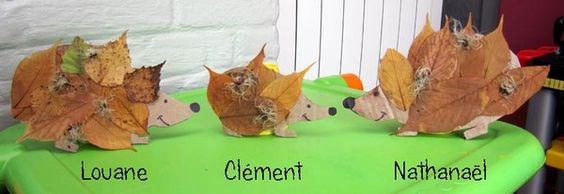 Et voici la famille hérisson ( collage feuilles d'automne )