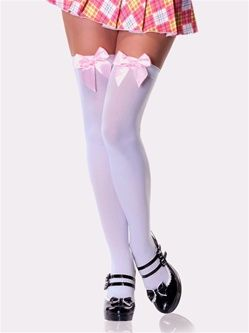 Opaque Thigh High Stockings With Satin Bow
