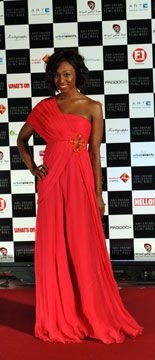 Beverley Knight wears a dress by UAE based designers Meher & Riddhima