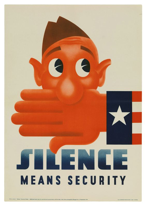 """WWII Poster: """"Silence Means Security"""""""