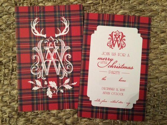 Dixie Delights: Tartan plaid Christmas party invitation + party
