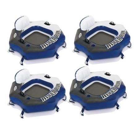 Four Intex River Run Connect Lounge Inflatable Floating Water Tubes