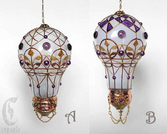 Decorative Ornament Frost White Stained Glass Light Bulb Hot Air Balloon with Purple Cabochons Holiday Christmas