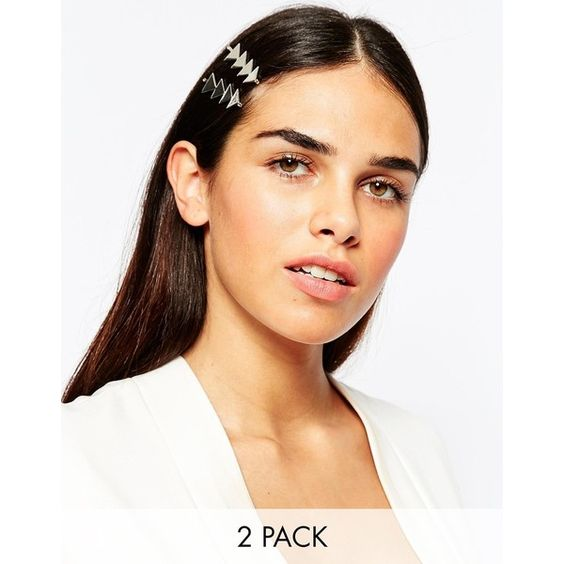ASOS Pack of 2 Triangle Hair Clips (260 MXN) ❤ liked on Polyvore featuring accessories, hair accessories, silver, asos hair accessories, asos, silver hair clips, silver hair accessories and hair clip accessories