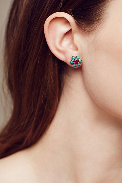 Turquoise And Ruby Blossom Studs In 14k Rose Gold - #anthroregistry