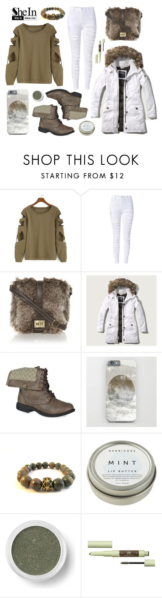 """Shein Contest • Green Sweatshirt"" by by-jwp ❤ liked on Polyvore featuring Abercrombie & Fitch, CB2, Bare Escentuals and Pixi"