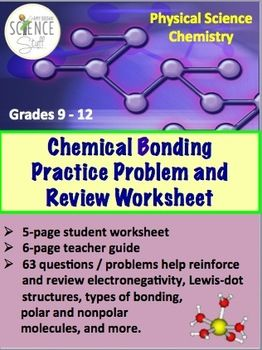 Printables High School Physical Science Worksheets chemical bonding practice problem and review worksheet student for high school physical science andor chemistry