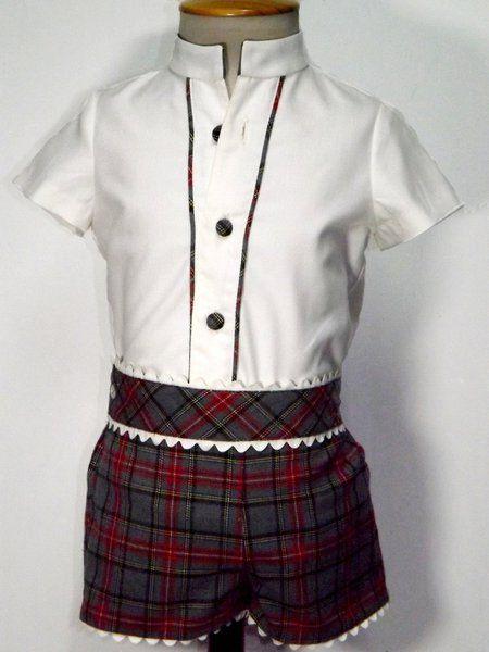 Conjunto para bebe ni o de pantal n y camisa de villela - Cuadros con botones ...