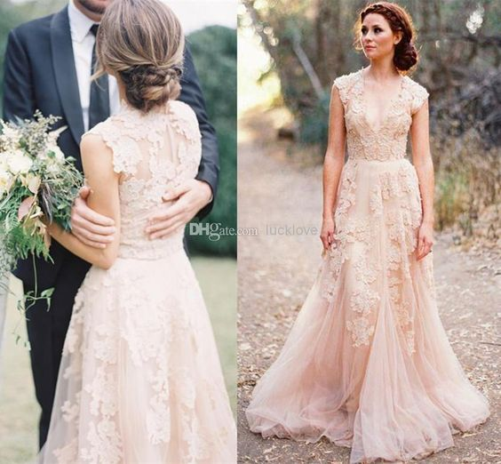 Discount Deep V Cap Sleeves Pink Lace Applique Tulle Sheer Wedding Dresses 2014 Cheap Vintage A Line Reem Acra Latest Blush Wedding Bridal Dress Gown Online with $131.04/Piece | DHgate