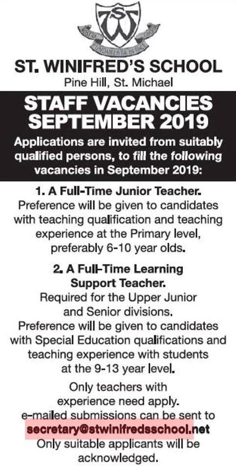 St Winifred S School Job Teaching Jobs School Jobs Teaching