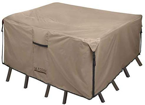 Amazon Com Ultcover Square Round Patio Heavy Duty Table Cover 600d Tough Canvas 100 Patio Furniture Covers Waterproof Patio Furniture Covers Furniture Covers