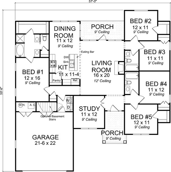 Best ideas about 5 Bedroom House Floor Plan House Plans 5 Bedroom