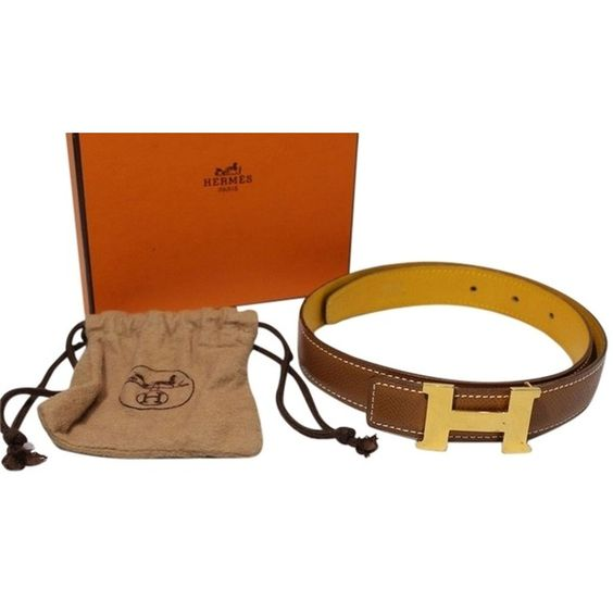 Pre-owned [] Hermes Gold Tone Brown Leather Belt France Size 60 (€310) ❤ liked on Polyvore featuring accessories, belts, none, hermes belt, metal belt and hermès
