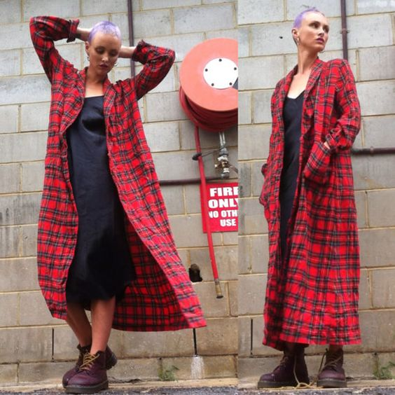 Red Plaid Tartan maxi duster jacket long trench by HEAVYxMENTAL