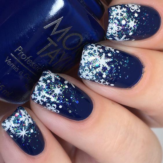 36 Deep Blue Nail Art Design For Winter Season Snowflake Nail Art Blue Nail Art Designs Snow Nails