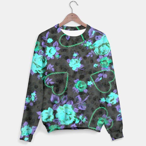 Aqua & Purple Roses Sweater, Live Heroes
