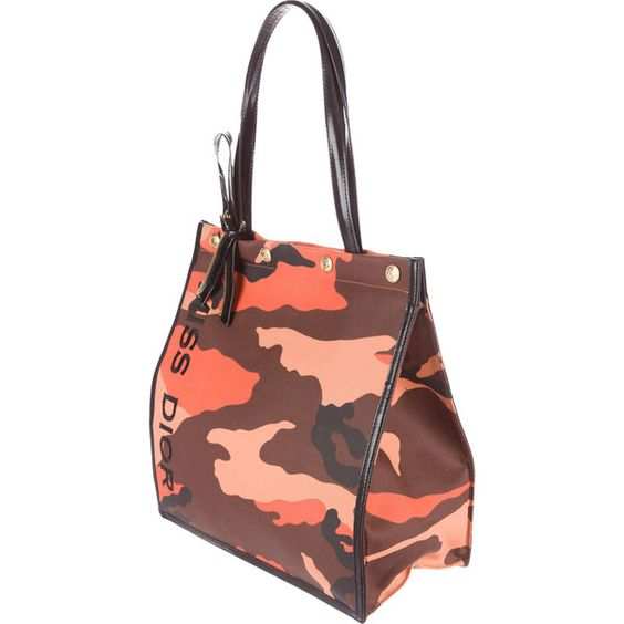 Pre-owned Christian Dior Leather-Trimmed Camouflage Tote (1,205 CNY) ❤ liked on Polyvore featuring bags, handbags, tote bags, orange, camouflage tote bag, zipper tote, orange camo purse, patent leather tote bag and embroidered tote bags