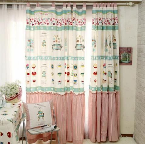 Pink Linen Toddler S Room Cupcake Country Cute Curtains