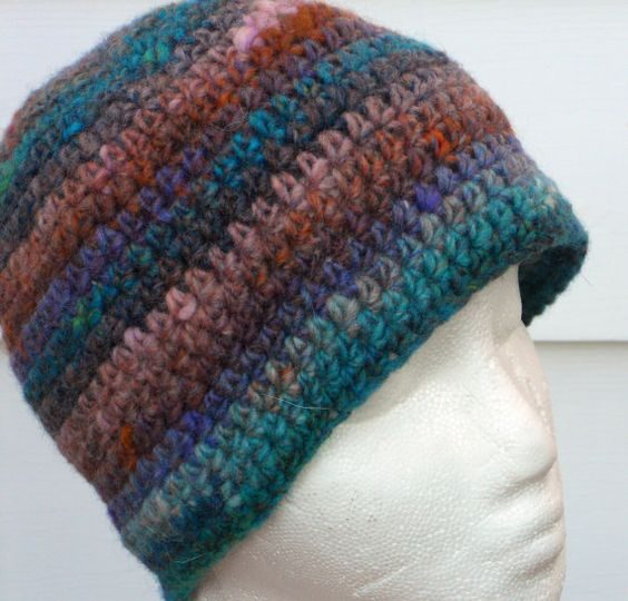 Crocheted Beanie Hat Striped by TrulyWoollyKnits on Etsy, $20.00