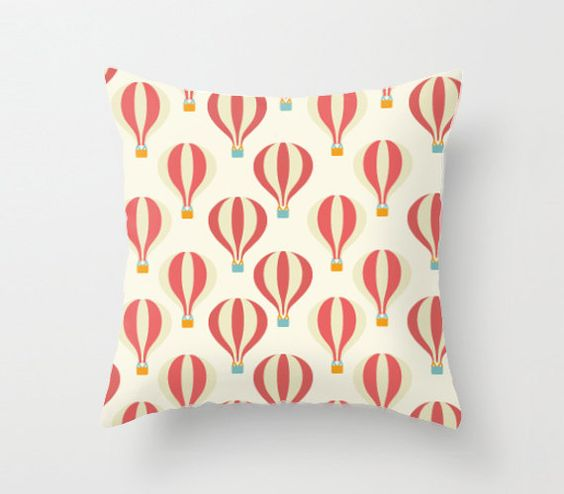 Hot air balloon Pillow cover 18x18 inch Decorative by AnnieColor
