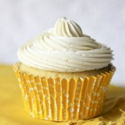 Lemon cupcakes topped with zesty Swiss meringue buttercream.