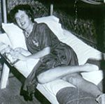 JULIA CHILD-SPY, Operative in WWII intelligence agency, the OSS (later to become the CIA) One of her duties was to help nvent shark repellent for OSS amphibious missions,which was later used for manned spaceflight missions,which required ocean landings.She also worked on many top secret operations during WWII. They worked around the clock, this is a pic of her taking a break on cots they kept in OSS office.She received Emblem of Meritorious Civilian Service for her work with the OSS. Biddy…
