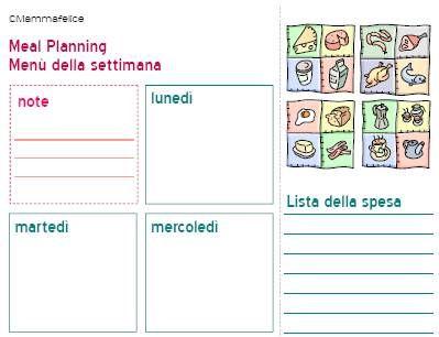 menu settimanale e lista spesa a crocette Da Stampare
