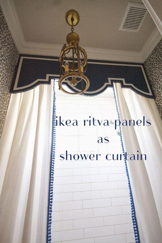 design dump: adding trim to ikea panels (custom shower curtain project)