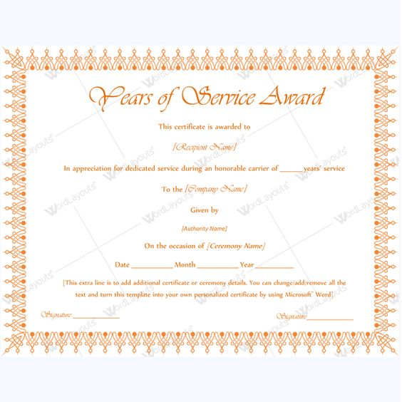 Printable Years Of Service Award #serviceyearaward #yearaward - certificate of achievement word template