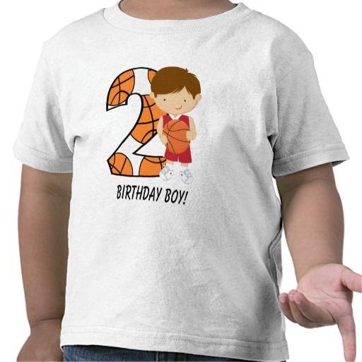 2nd Birthday Red and White Basketball Player Shirt by artist Celebrationbazaar.